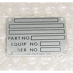 65-24916-2, New Boeing Aircraft Nameplate, Data Plate