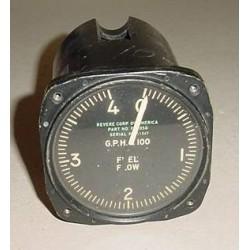 Vintage Warbird Jet Fuel Flow Indicator, 1224-8-018, F-2058