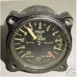 WWII Warbird Vacuum Pressure / Deicer Indicator, AW-1 7/8-16-W